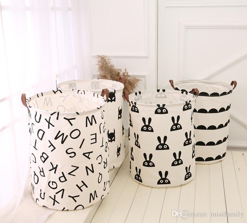 INS корзины хранения бункеры детская комната игрушки сумки для хранения ведро организатор одежды мешок для белья холст организатор бат горошек прачечная