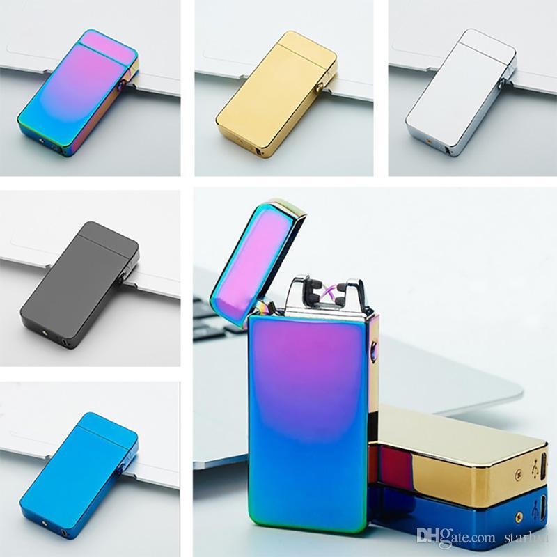 Oro Plata Double Fire Cross Encendedores Metal USB Dual Encendedores Eléctricos Smoking Accessoreis Tool WX9-229