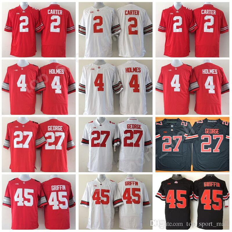 online store 9d98e d375b Men Football 2 Cris Carter Jersey Ohio State Buckeyes College 4 Santonio  Holmes 27 Eddie George 45 Archie Griffin Embroidery Black Red White