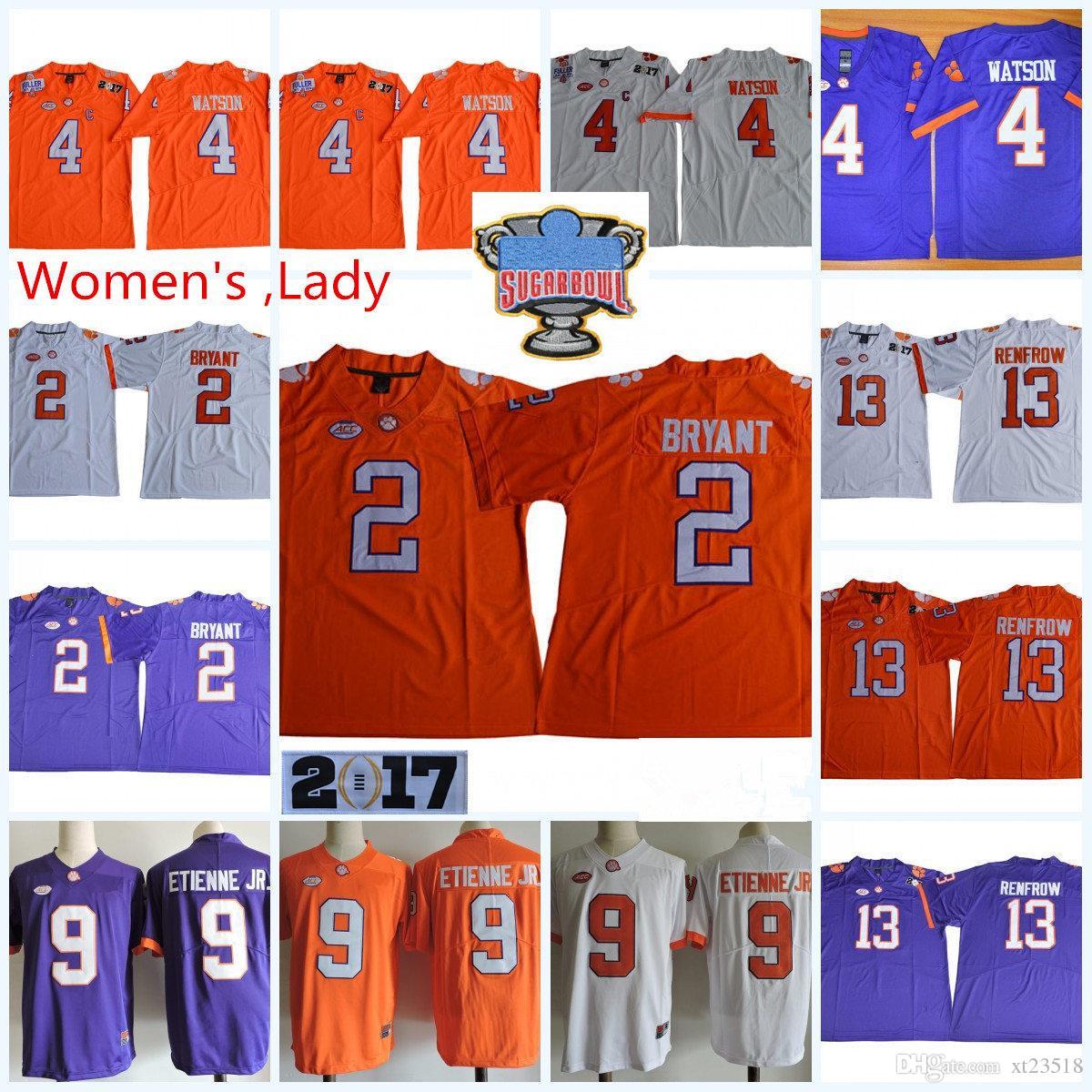 finest selection fd46c 2af88 Womens NCAA ACC Clemson Tigers Kelly Bryant Football Jerseys Lady Hunter  Renfrow DeShaun Watson Travis Etienne Jr. Tigers Jersey S-2XL