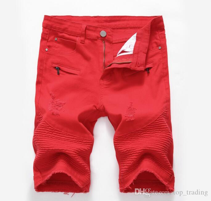 2018 mens distressed ripped short jeans fashion brand designer casual knee length skinny silm denim shorts hip hop denim jeans shorts SP14