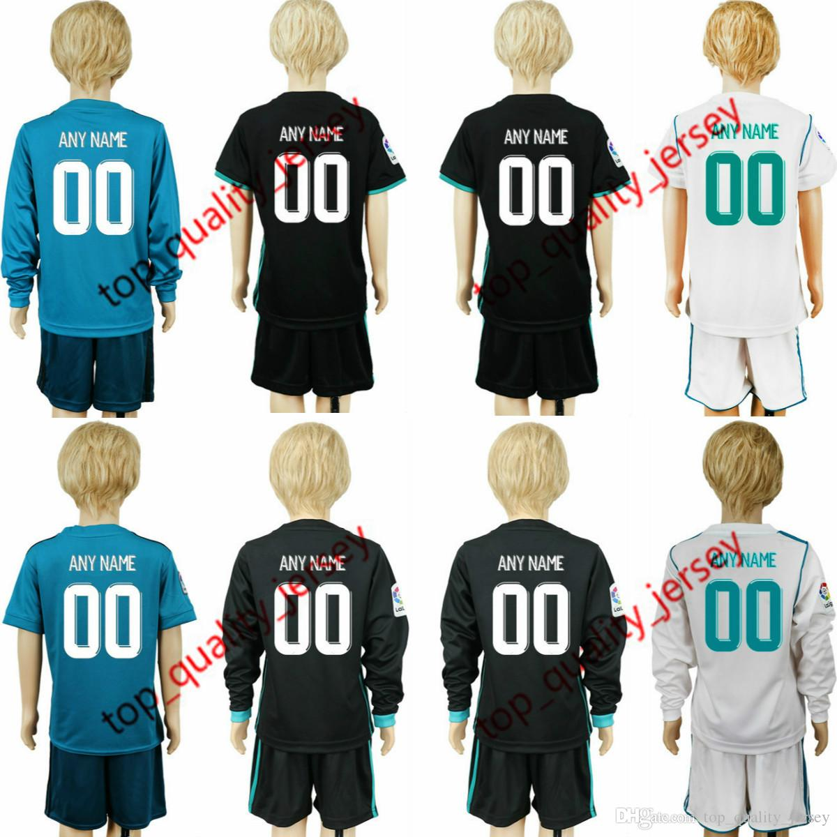 0e03f0cc1 2019 2018 Custom Kids Soccer Sets Real Madrid Jersey 2017 18 Home White  Away Black Blue Ronaldo ASENSIO ISCO Child Boys Youth Soccer Shirts From ...