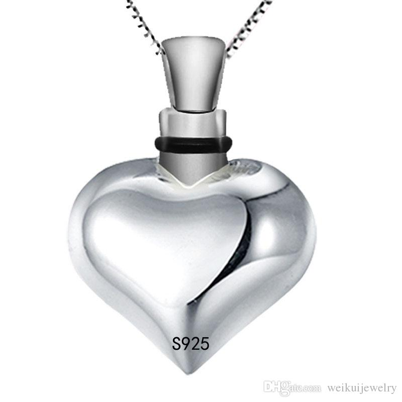 Custom-made 925 pure silver heart type ashes box funeral cremation urn jewelry necklace perfume bottle lovers fashion pendant.