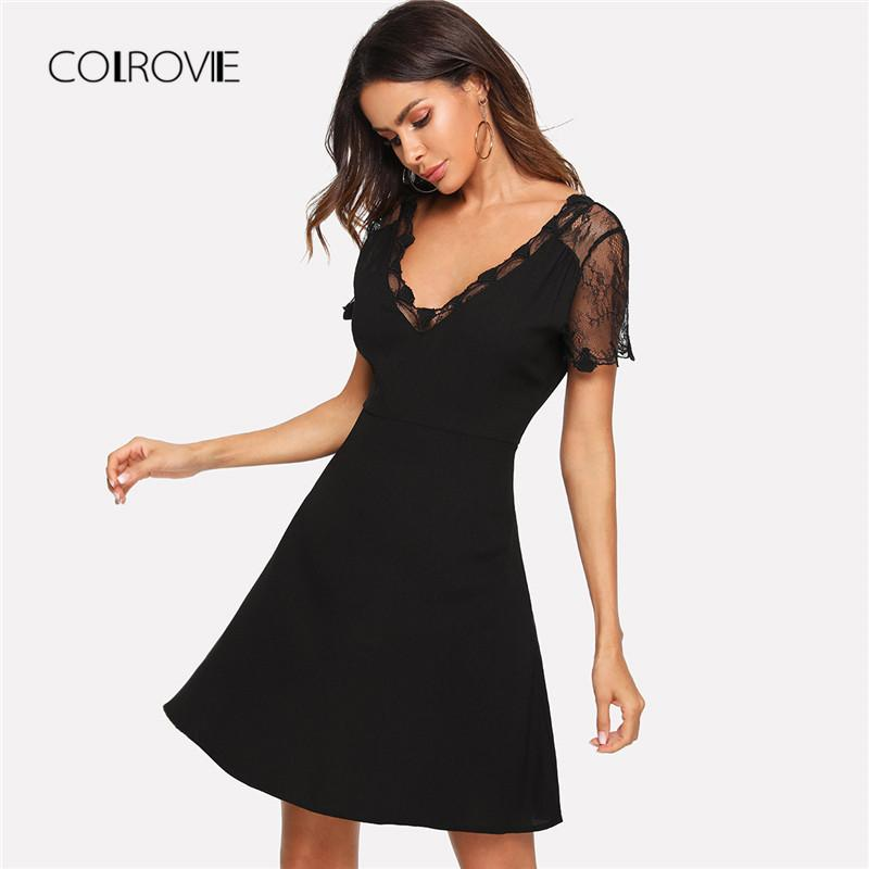 707836ef1f96 COLROVIE Black V Neck Embroidered Mesh Insert Fit And Flare Lace Party  Dress 2018 Autumn Short Sleeve A Line Sexy Women Dress Dress Fashion  Clubwear Dresses ...