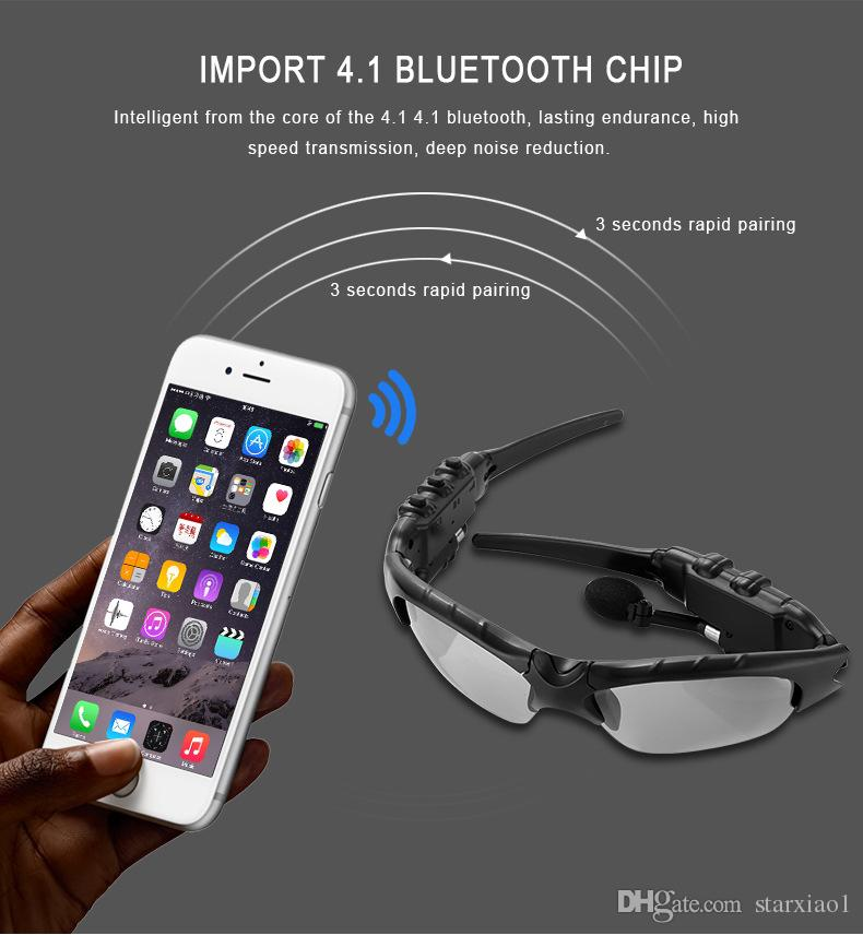 Fashion Sunglasses Bluetooth Headset Wireless Sports Headphone Sunglass Stereo Handsfree Earphones mp3 Music Player With Mic Retail Package