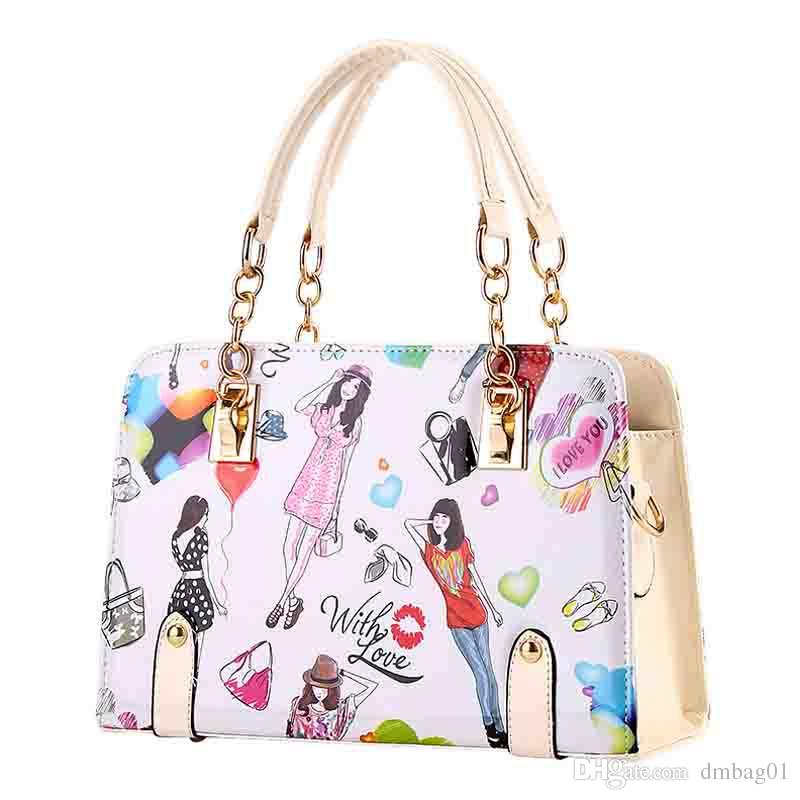 choose top quality pu leather handbags summer chain style fashion tote bag luxury designer handbags with cartoon print shoulder bag