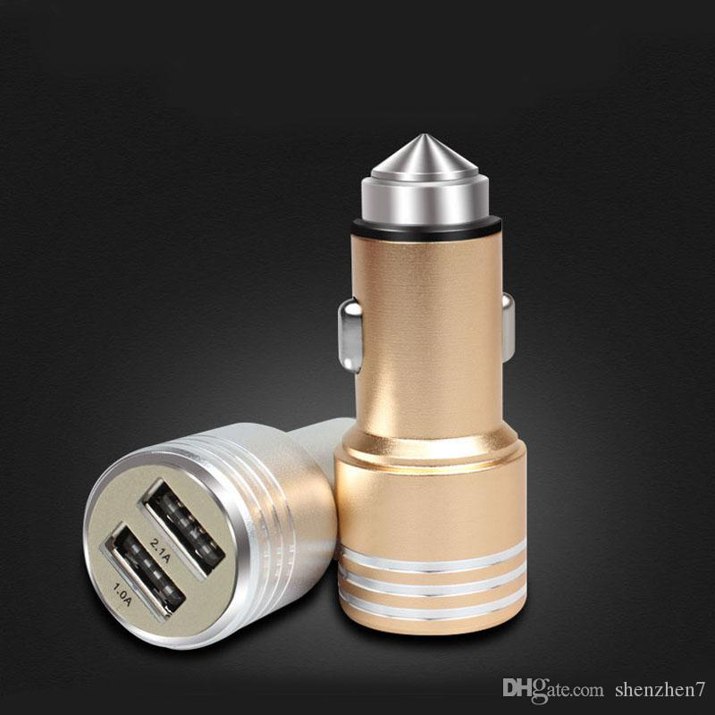 3.1A dual USB car charger Round Aluminum Metal Safety Hammer Charger Adapter For Phone Ipad Digital camera Cell Phone Chargers CAB241