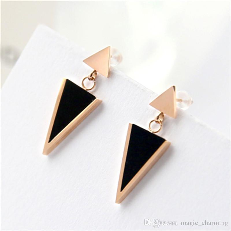 a140d9992 2019 2018 New Arrival Fashion Black Triangle Stud Earring Rose Gold Color  Woman Gift Titanium Steel Jewelry No Fade Wholesale From Magic_charming, ...