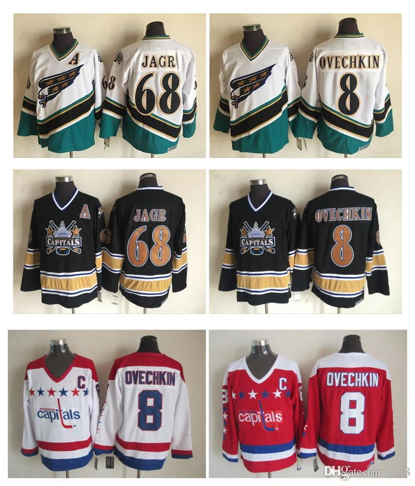 578fbe644a2 2019 2005 Washington Capitals Jersey 8 Alex Ovechkin 68 Jaromir Jagr Jersey  White Black 100% Stitched 1990 Retro Hockey Jerseys From Qqq8, $26.73 |  DHgate.