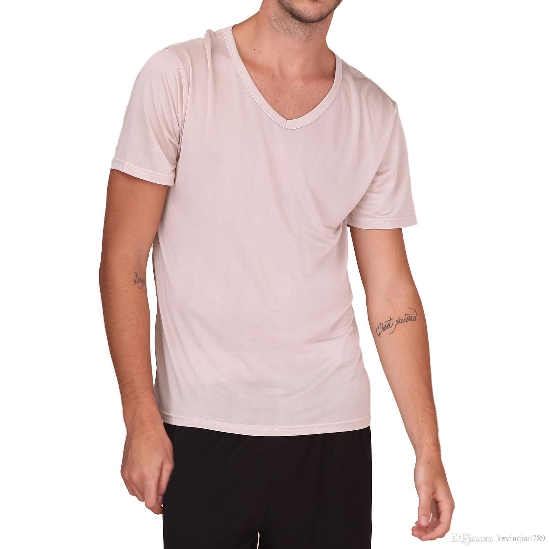 b8e95fff9f66 100% Pure Silk Knit NEW Men'S Short Sleeves V Neck Casual T Shirt Tee Plain  Size M L XL XXL Shirt Tees T Shirt On Shirt From Kevinqian789, $30.21   DHgate.