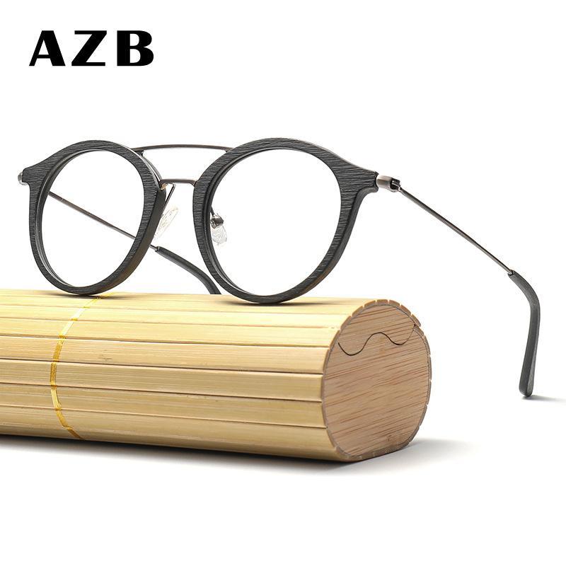 8045ebc12d Compre AZB Miopía Anteojos Marcos Madera Grano Óptico Prescripción Gafas  Marco Transparente Lente Hombres Mujeres Gafas De Madera Marcos A $36.84  Del Huazu ...