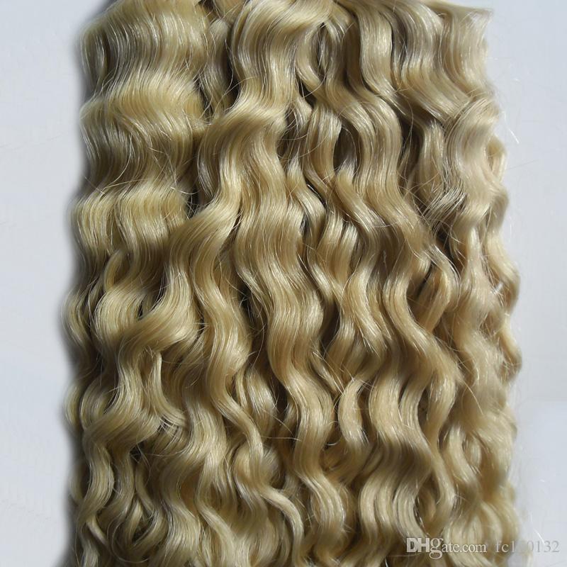 613 Bleach Blonde Band In Keiner Remy Menschenhaarkleber Verlängerung 100g mongolische verworrenes lockiges Haar 40 teile / satz Haut Schuss Haar
