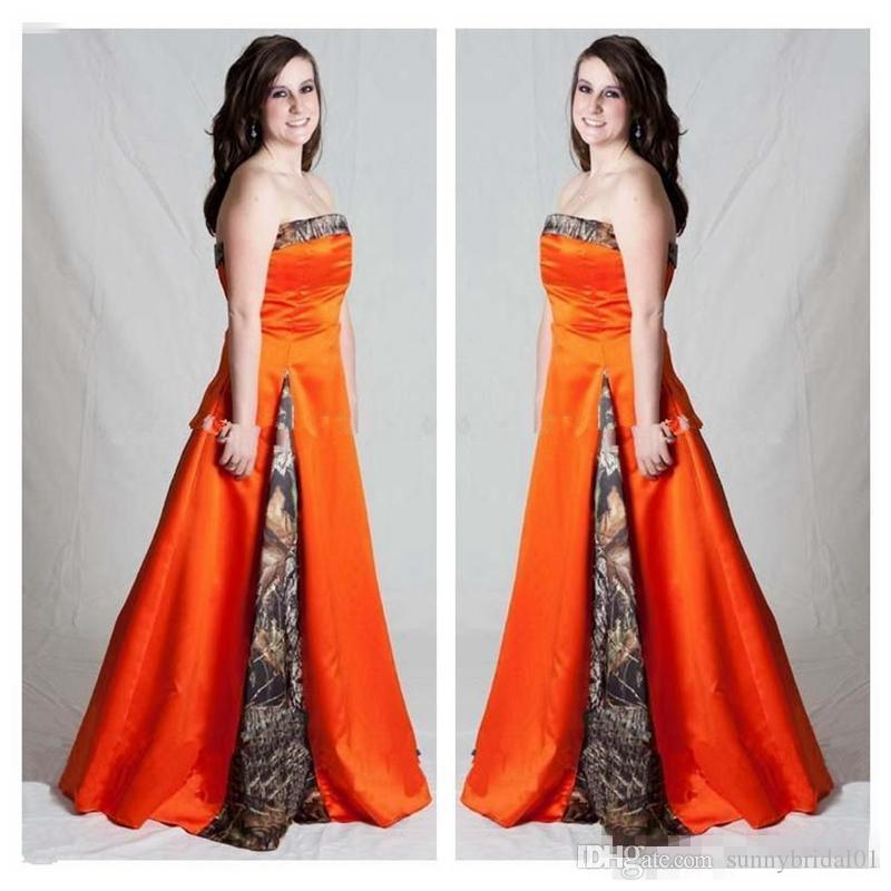 Vintage Camo Orange Plus Size A Line Wedding Dresses Strapless Floor Long  Lace Up Custom Made Bridal Gowns For Forset Garden Wedding Cheap