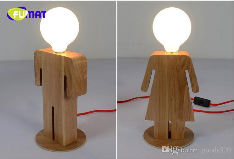 New wood desk lamp boy girl room led table lamp