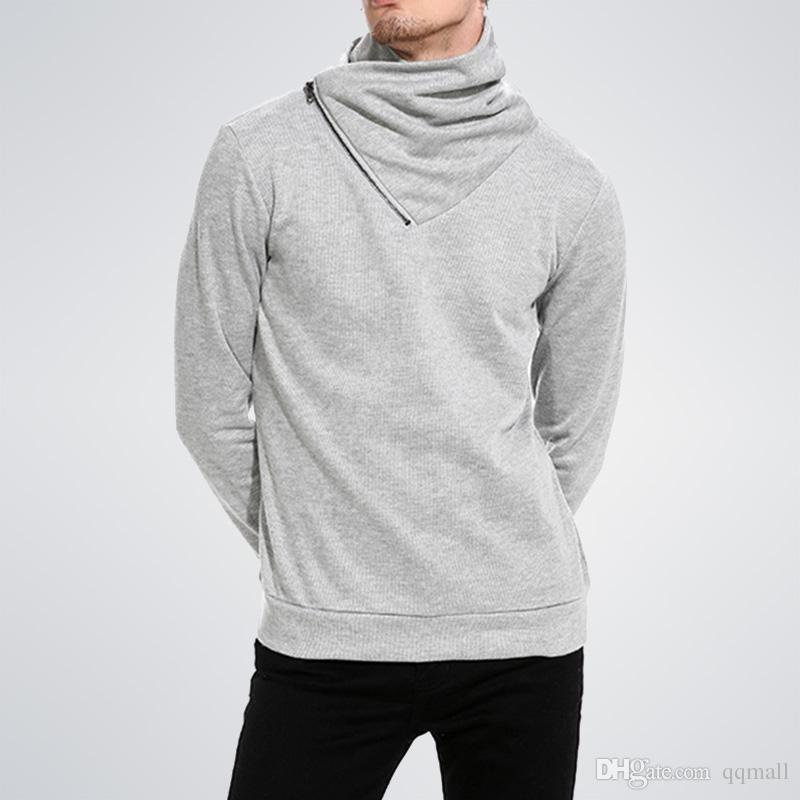 Cowl neck Men sweatshirt hoodies Warm Fall winter Zip Turtleneck hip hop hoodie men