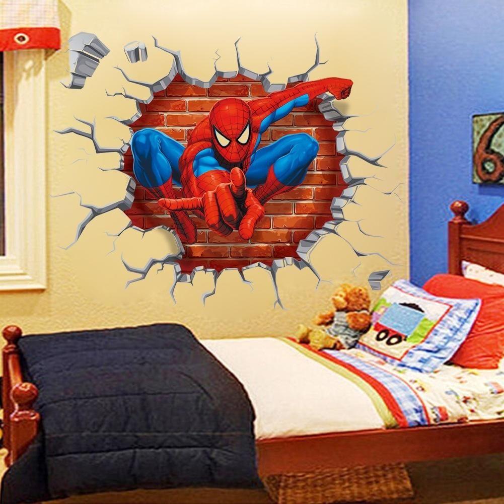 Waqia New Spiderman Three Dimensional Through The Wall Cartoon ...