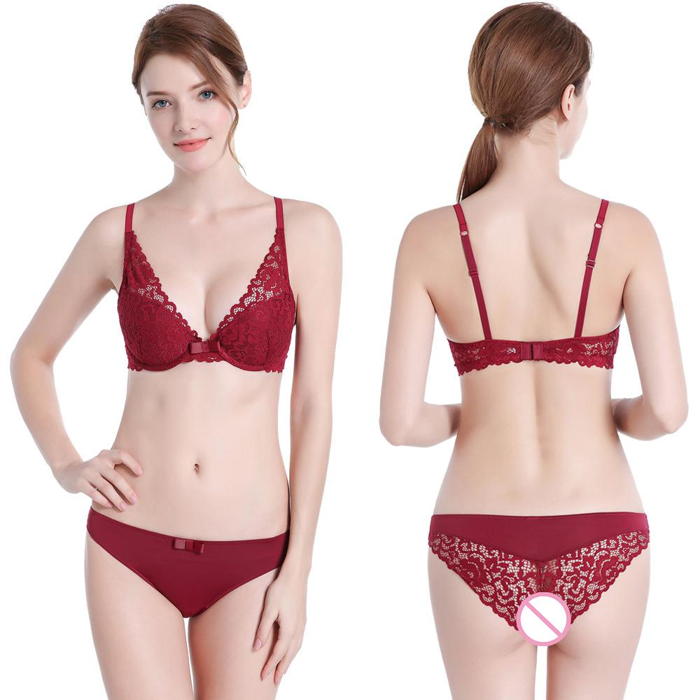 372052d7b243 Sexy Lace Embroidery Push Up Deep V Bra Set For Women Lady Cute Sexy Lolita Underwear  Satin Lace Bra Sets With Panties Lingerie