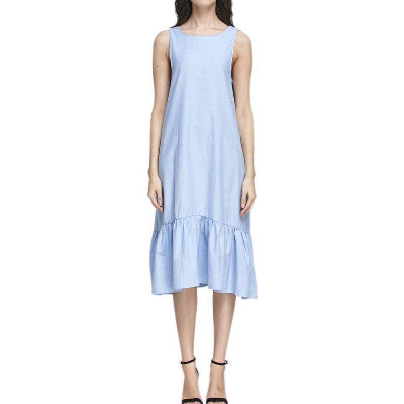 énorme réduction 163d1 913fa 2019 Mode Femmes Robe Longue En Coton Bleu Volants Plage D été Sans Manches  Lâche Casual Marque Vestidos Mujer Robe Longue