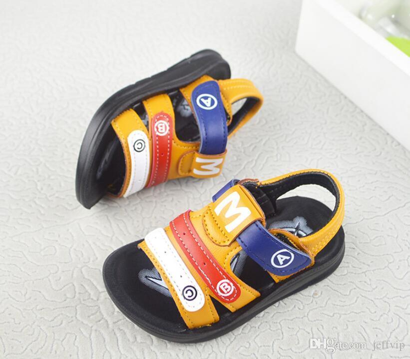 Ragazzi Sandali in pelle morbida suola comoda bella colorata fibbia cinturino scarpe basse calzature