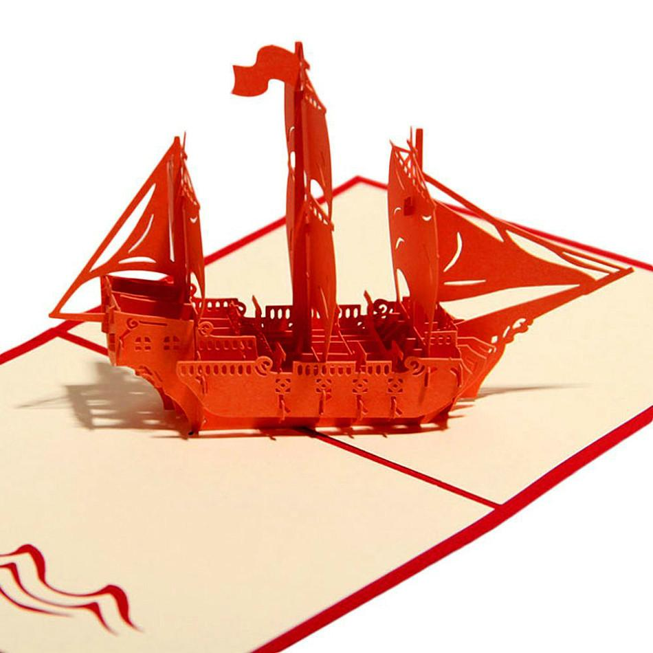 Wholesale New Red Ship Greeting Card 3d Pop Up Cards Birthday ...