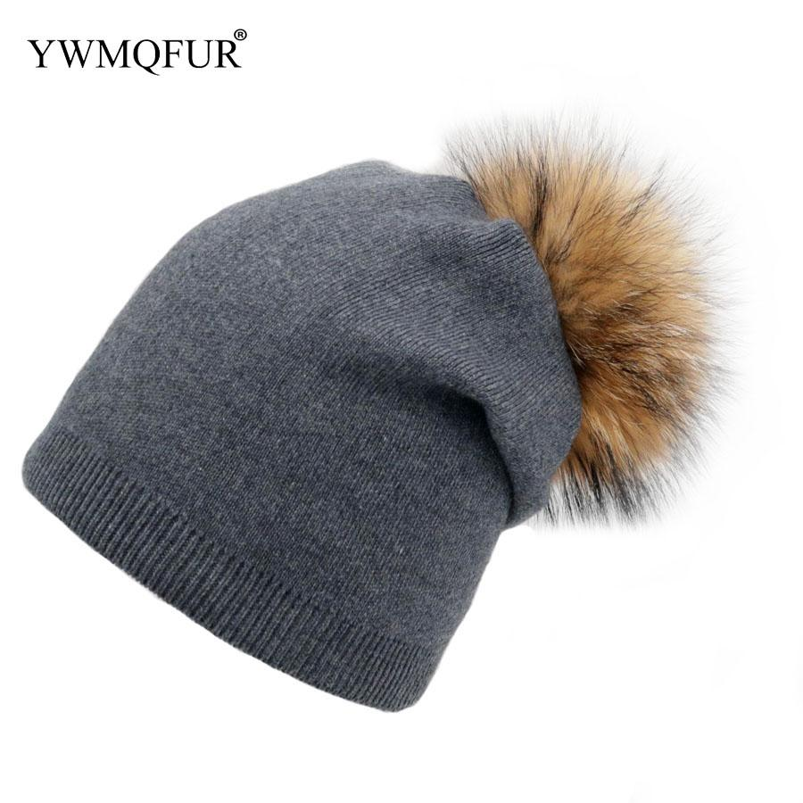 Winter Beanies Women Caps For Adult Warm Thicker Knitted Hats With Fur Ball Female  Skullies Cap With 2018 YWMQFUR Skullies   Beanies Cheap Skullies ... 68900f980adf