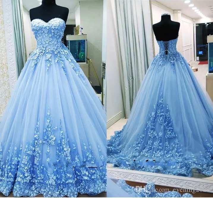 compre vestidos de fiesta elegantes y de color celeste claro