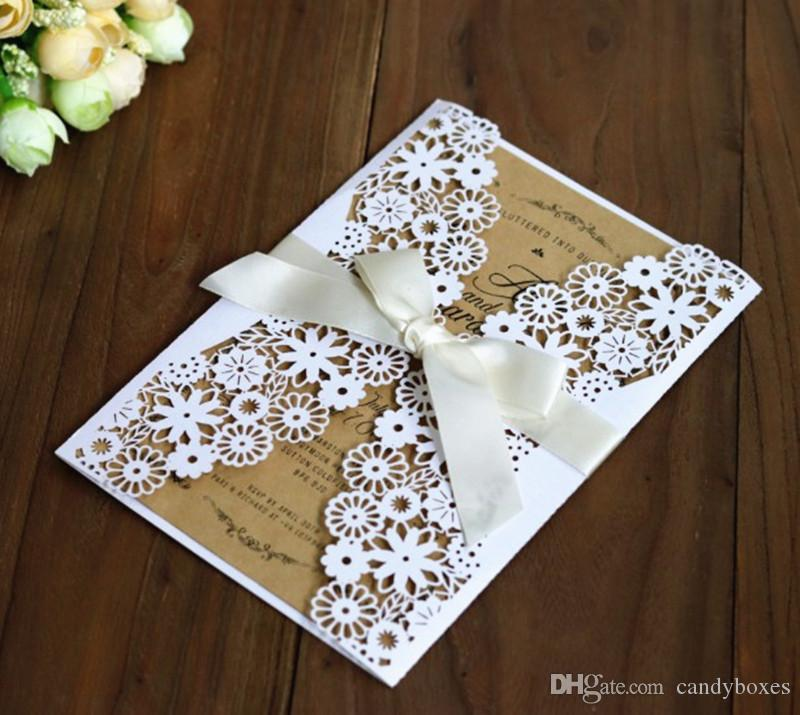 Rustic Laser Card Invitation White Wedding Valentine S Day Invitation Jacket Flower Design Customized Printing Free Ship