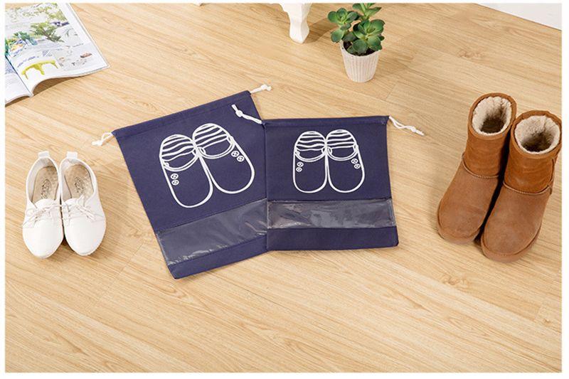 Non-Woven Fabric Shoes Storage Bag Women Men Dustproof Cover Shoes Bags Travel Beam Port Shoes Storage Drawstring bag