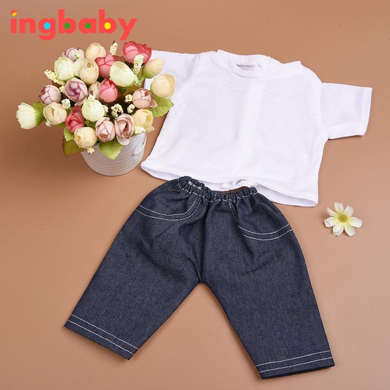 T-shirt & Jeans Doll Clothes Set Fashion 18-inch American Doll Clothing Children DIY Dress Up Doll Accessories ingbaby WJ1080