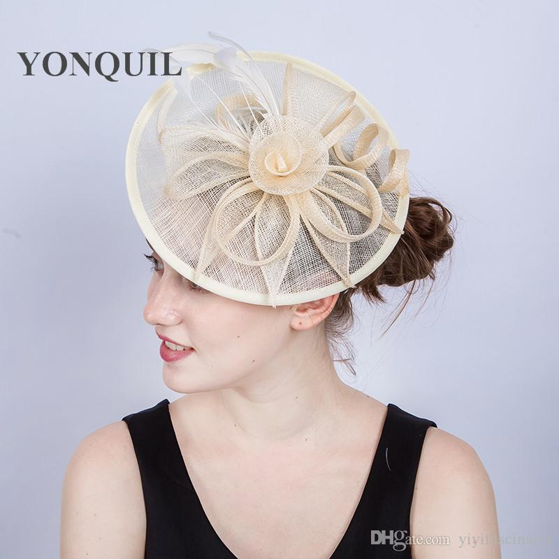 For Select Women Wedding Elegant Cocktail Hair Fascinators Hat Sinamay  Material Feather Pillbox Hat With Hair Bands Headpiece SYF205 Hat For Wedding  Guest ... fa2640aa896