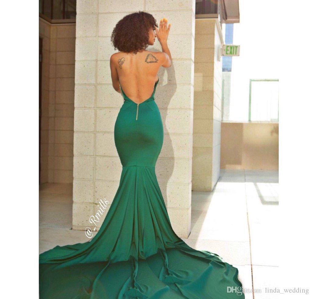2019 Sexy espalda abierta Vestido de fiesta Cuello de halter Apliques largos Desfile formal Vacaciones Usar graduación Vestido de fiesta de noche por encargo más tamaño