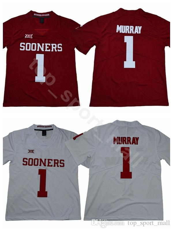 2019 New Style College 1 Kyler Murray Jersey Men Red White Oklahoma Sooners  Football Jerseys All Stitched Home Away University Good Quality From ... 7696490e4