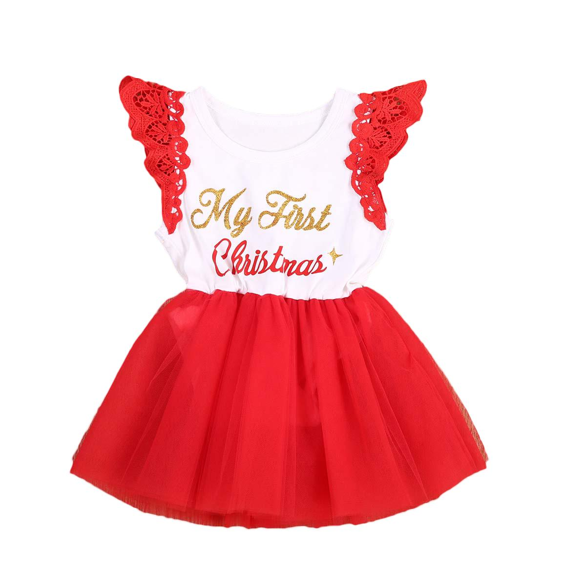 eb4860681f22 2019 Newborn Infant Kids Baby Girl Clothes Christmas Lace Ruffles Romper  Santa Claus Lace Tutu Jumpsuit Outfits Y18102907 From Gou07