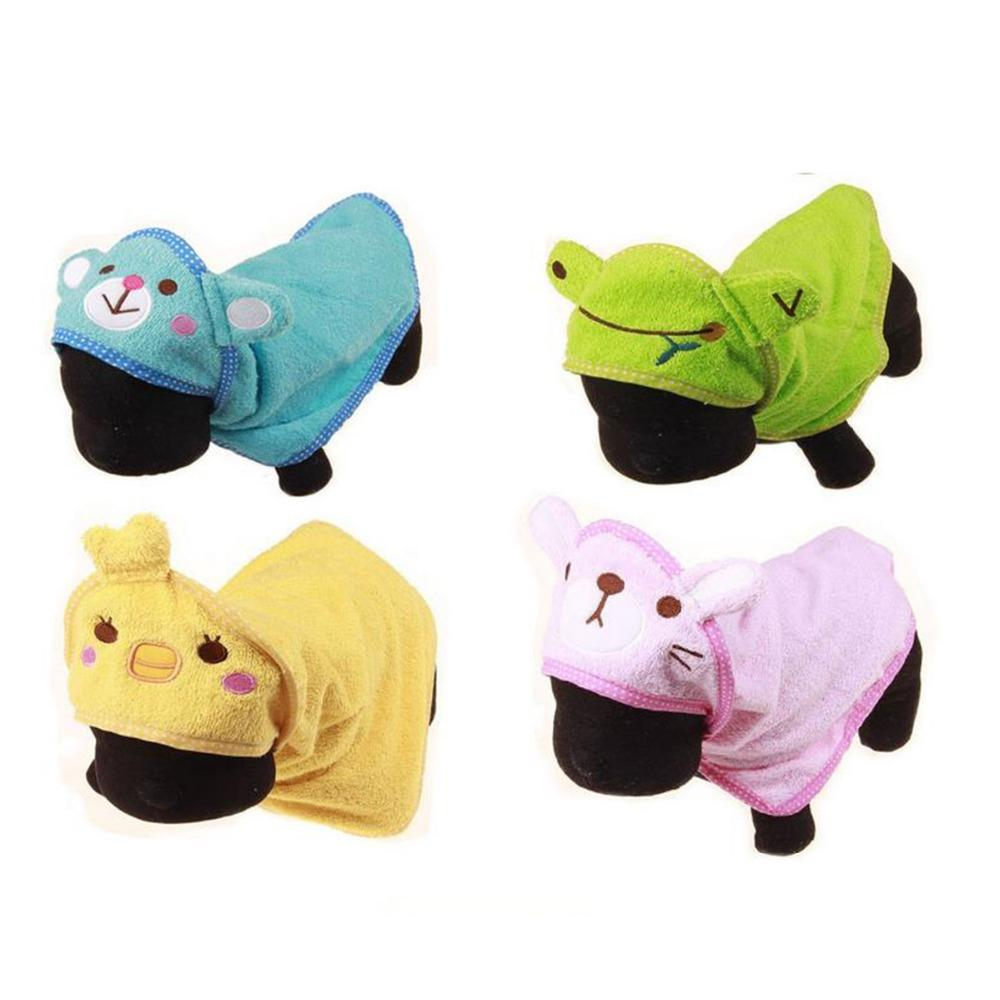 Cartoon Hooded Dog Bath Towel Pet Drying Towel Puppy Cleaning Super Absorbent Bathrobes Soft Feeling Pet Supplies 4Color 4Size