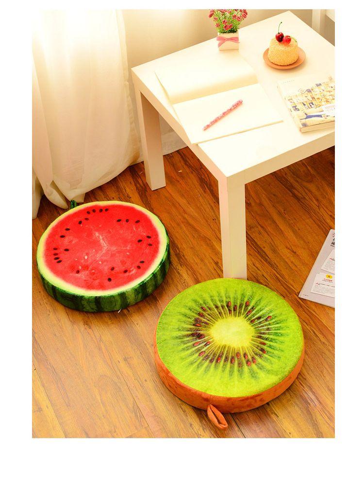 New Creative 3d Fruit Cushion Round Short Plush Watermelon Cushion Office Sofa Nap Cushion