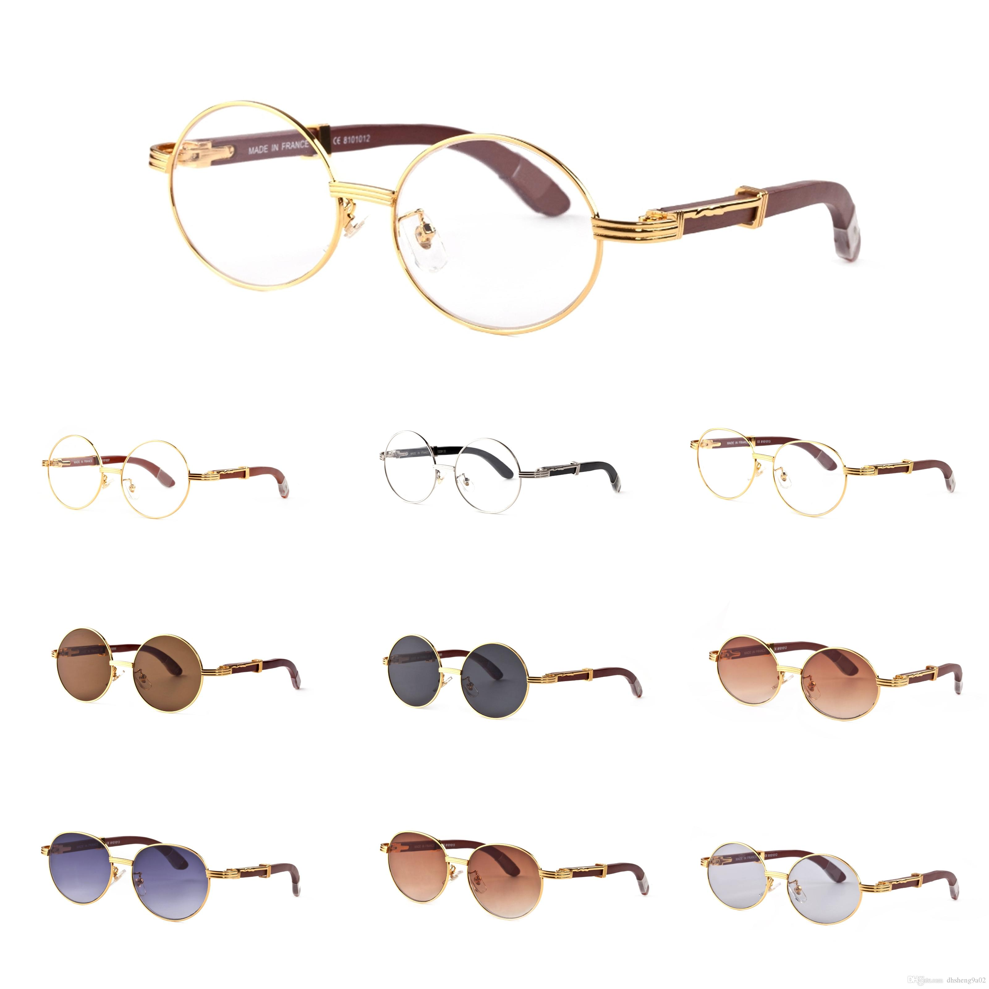97ea6ee4c16 Luxury Brand Gold Sun Glasses Metal Frames Real Wooden Designer Sunglasses  Brands For Men And Women Vintage Round Wood Glasses With Box Cool Sunglasses  ...