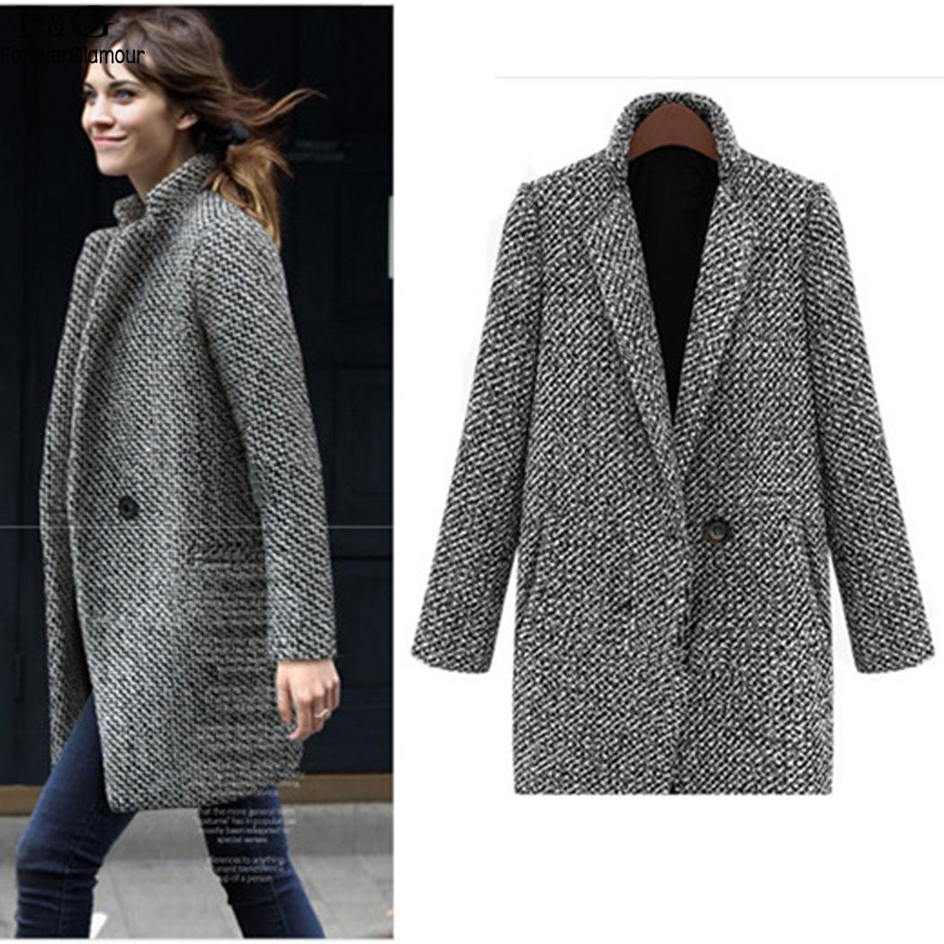 303801a1b 2019 FANALA Coat Woman Casual Plaid Female Jacket 2018 New Wool Coat Winter  Coat Women One Button With Pocket Winter Woman Coats D18110702 From  Shen8403, ...