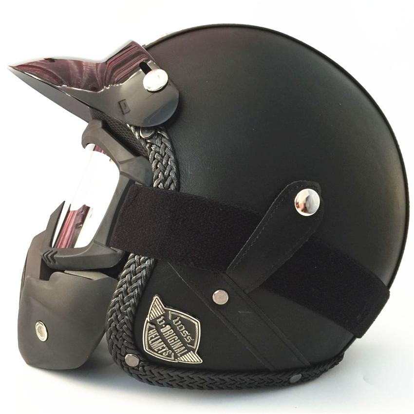 Vintage Motorcycle Motorbike Scooter Half black Leather Helmet wlth Free Goggles Adult brown leather helmet S M L XL XXL size