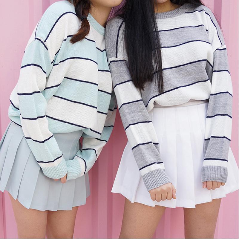 c098a7377335 Acquista 2018 Nuove Donne Coreane Casual Maglione Lavorato A Maglia Autunno  Moda O Collo Color Block Pullover A Strisce Pullover Maglioni Allentati ...