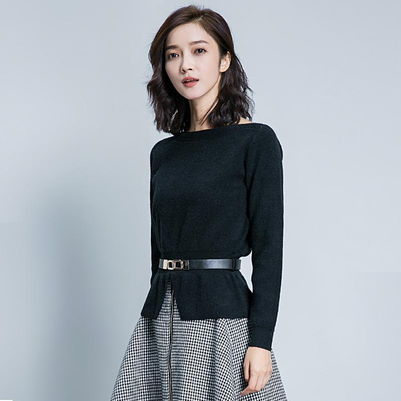 Suvance Moda Sashes Slash Collar Manga Longa Cor Sólida Mulheres Pullover Sweater