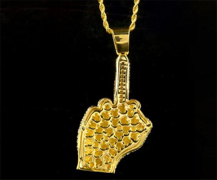 middle Finger Diamond Necklace Street Wind Heavy Drill Full Diamond Alloy Big Finger Pendant Vertical Hip Hop Necklace J044
