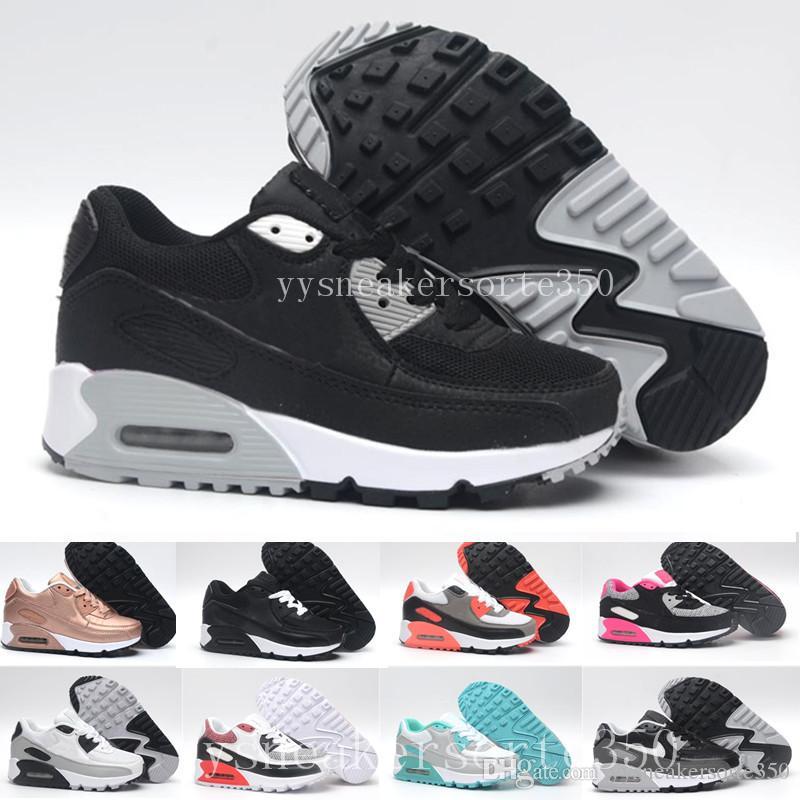 best loved 20aad 43313 Acheter Nike Air Max 90 Airmax Espadrilles Chaussures Classique 90 Garçon Fille  Enfants Enfants Chaussures De Course Noir Rouge Blanc Sport Entraîneur Air  ...