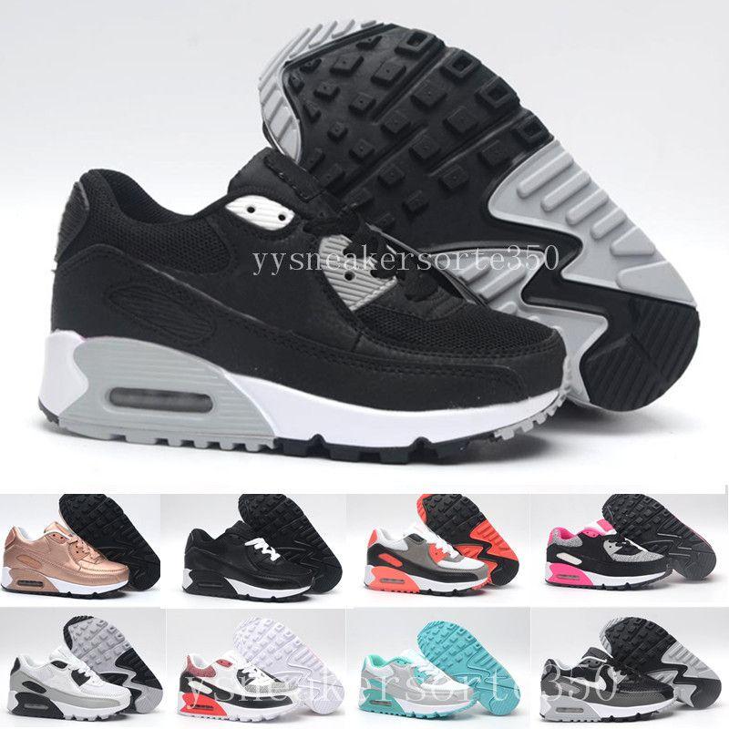 magasin en ligne 8ebd1 7d427 nike air max 90 airmax Zapatillas Zapatos classic 90 boy girl niños niños  Zapatillas Running Black Red White Sports Entrenador Air Cushion Surface ...