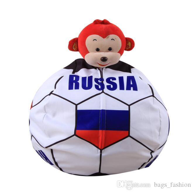 2018 World Cup Toys Receive Bag Design Print Plush Toys Chair Bedroom Stuffed Animal Room Mat Clothes Portable Toys Soccer Funs Beanbag