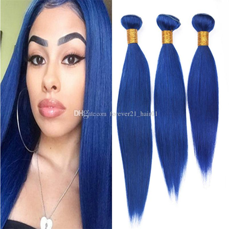 2018 Dark Blue Virgin Brazilian Human Hair Weave 3 Bundles Deals