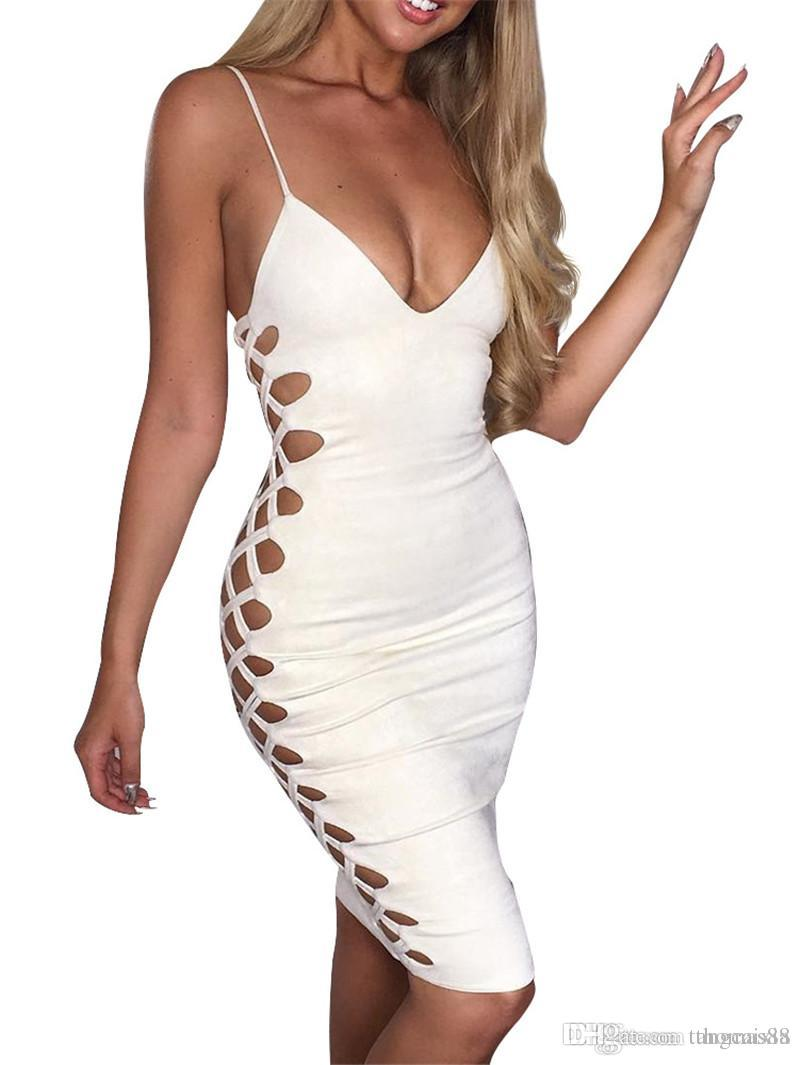 1a6365bb830 Wholesale Sexy Women Hollow Out V Neck Summer Fashion Spaghetti Straps  Vestidos Elegant Night Club Party Dress White Lace Dress Casual Green  Dresses For ...
