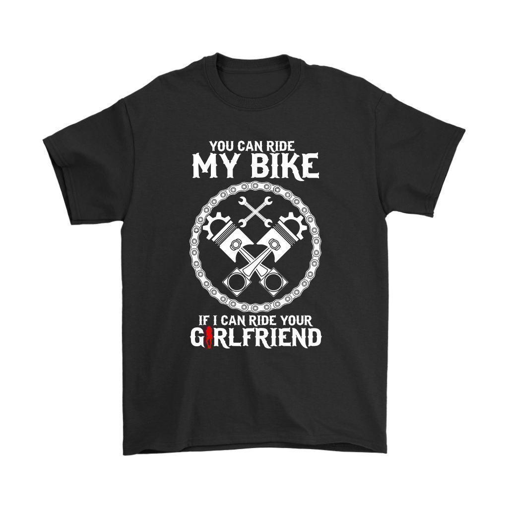 Funny Biker Shirt You Can Ride My Biker If Mens T-Shirt Men Short Sleeves T  Shirt Top Tee Basic Tops Hipster