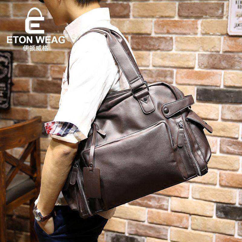 6a3145e5d7f4 ETONWEAG Brands Cow Leather Duffle Bag Travel Bags Hand Luggage Black  Zipper Traveling Bag Big Capacity Organizer Shoulder Bags Bag Travel Bag  Leather ...
