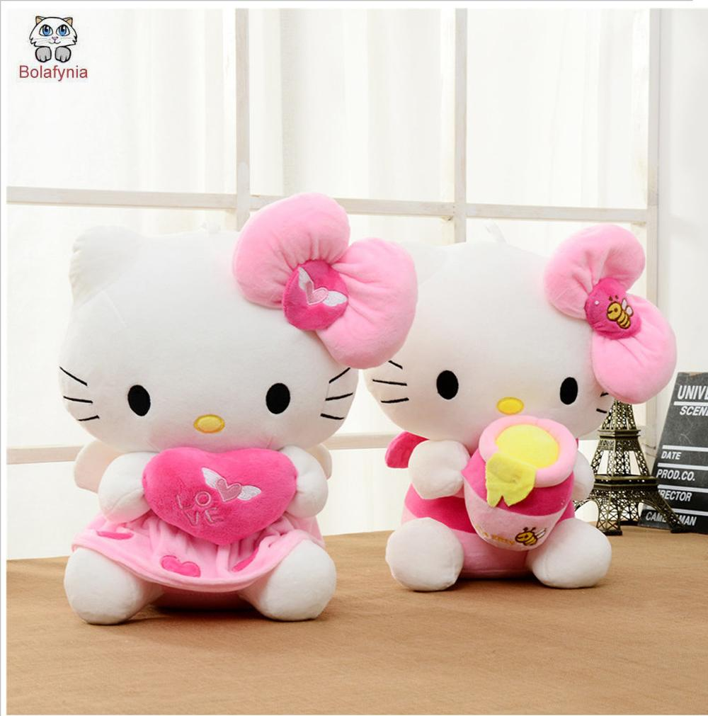 ea4a13c4f97 BOLAFYNIA Children Plush Toy hello kitty heart pink heart for Valentine s  Day Christmas Birthday Gift kids baby Stuffed toy