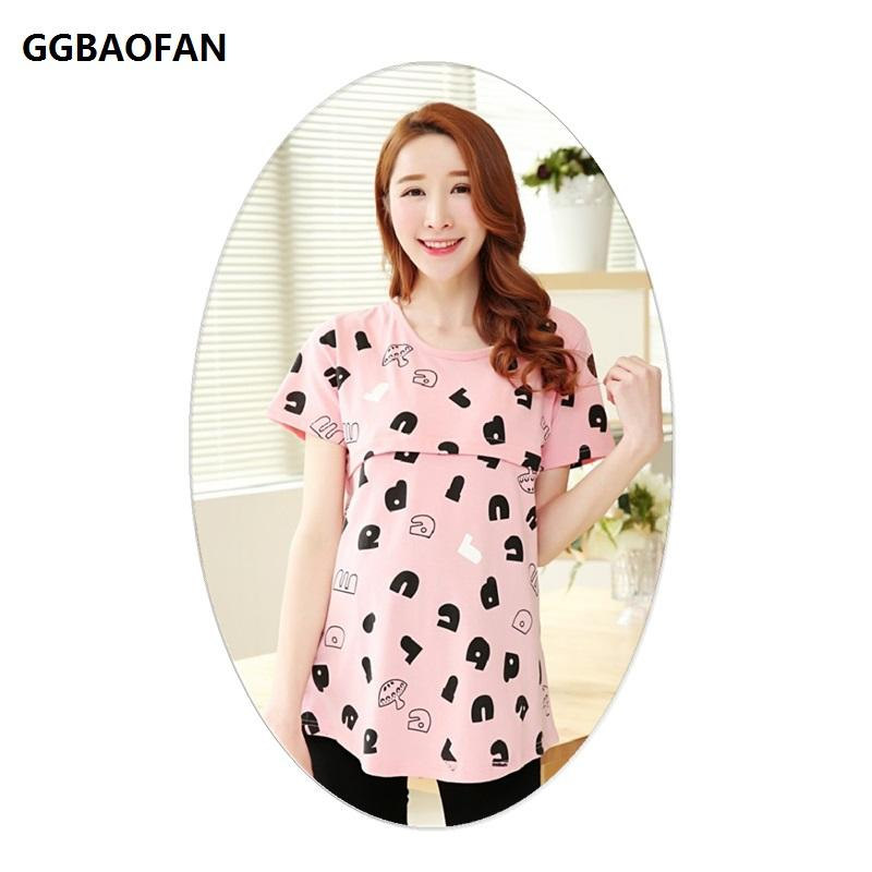 72a989eb62b 2019 GGBAOFAN Summer Maternity Short Sleeved Round Neck Letter Printed Breastfeeding  Clothes For Pregnant Women T Shirt Top From Rainbowny